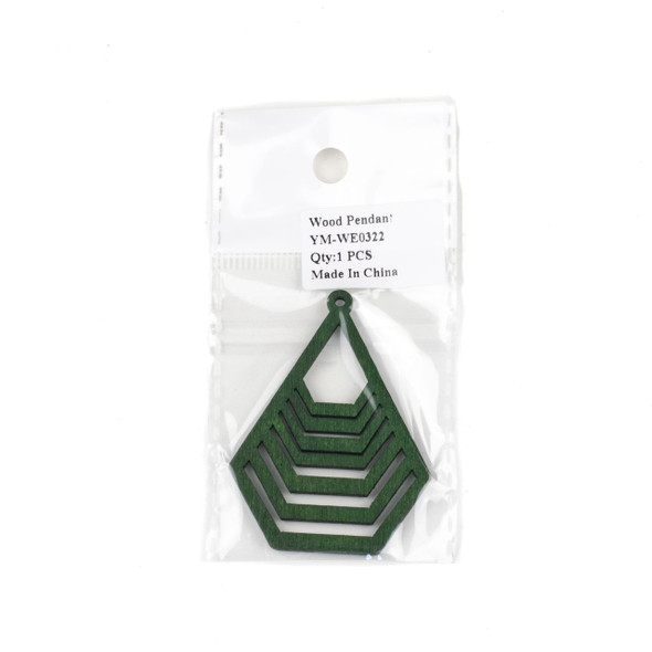 Aspen Wood Laser Cut 43x59mm Green Geometric Teardrop Pendant - 1 per bag
