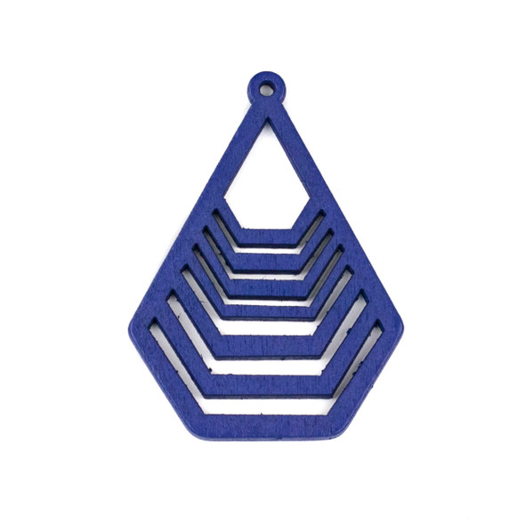 Aspen Wood Laser Cut 43x59mm Blue Geometric Teardrop Pendant - 1 per bag