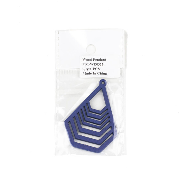 Aspen Wood Laser Cut 43x59mm Blue Geometric Teardrop Pendant - 1 per bag