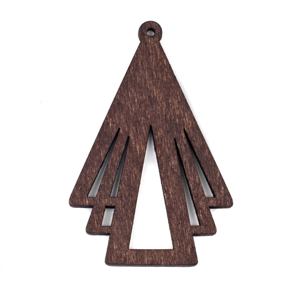 Aspen Wood Laser Cut 45x69mm Dark Brown Layered Geometric Triangle Pendant - 1 per bag