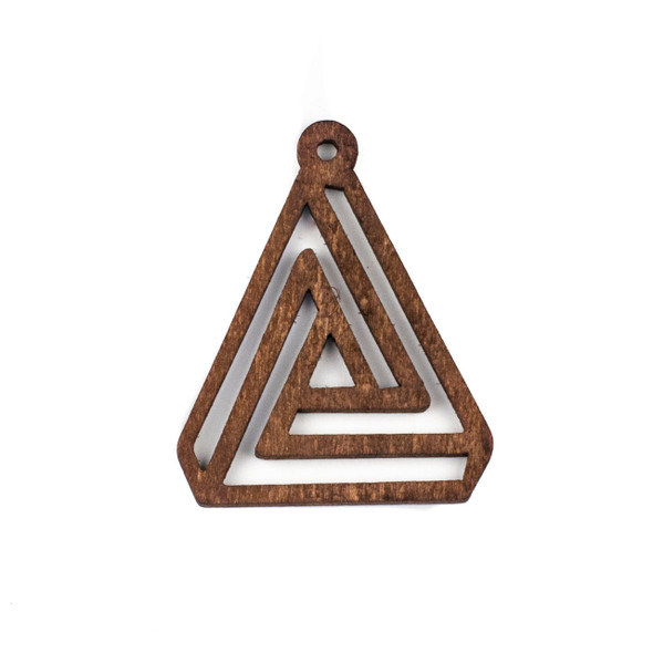 Aspen Wood Laser Cut 40x50mm Brown Triangle Geometric Maze Pendant - 1 per bag