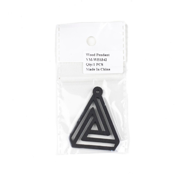 Aspen Wood Laser Cut 40x50mm Black Triangle Geometric Maze Pendant - 1 per bag
