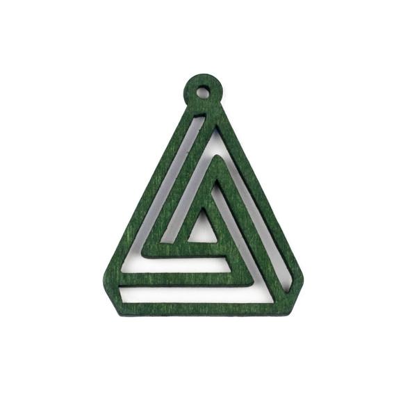 Aspen Wood Laser Cut 40x50mm Green Triangle Geometric Maze Pendant - 1 per bag
