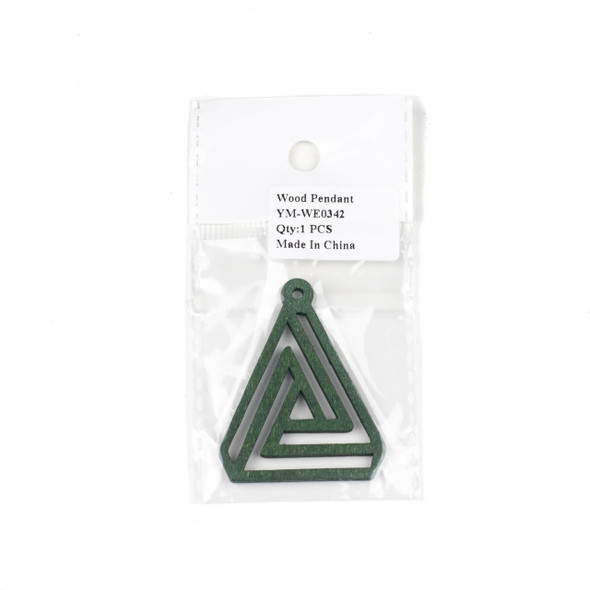 Aspen Wood Laser Cut 40x50mm Green Triangle Geometric Maze Pendant - 1 per bag