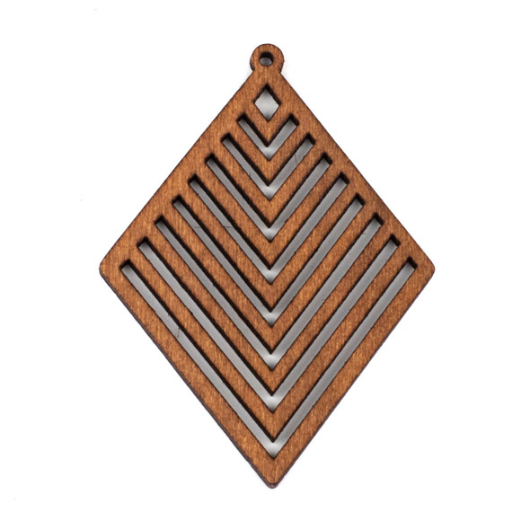 Aspen Wood Laser Cut 52x70mm Brown Diamond Geometric Chevron Pendant - 1 per bag