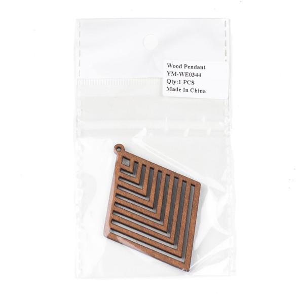Aspen Wood Laser Cut 52x70mm Brown Diamond Geometric Chevron Pendant - 1 per bag