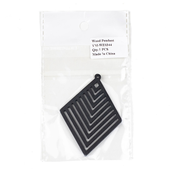 Aspen Wood Laser Cut 52x70mm Black Diamond Geometric Chevron Pendant - 1 per bag