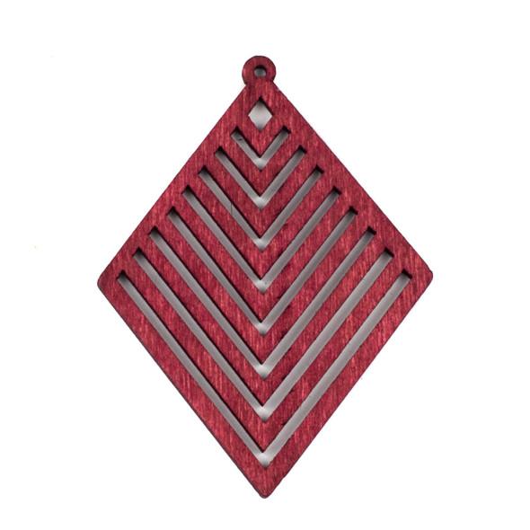Aspen Wood Laser Cut 52x70mm Red Diamond Geometric Chevron Pendant - 1 per bag