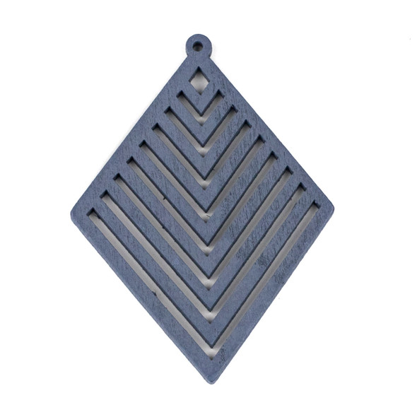 Aspen Wood Laser Cut 52x70mm Grey Diamond Geometric Chevron Pendant - 1 per bag