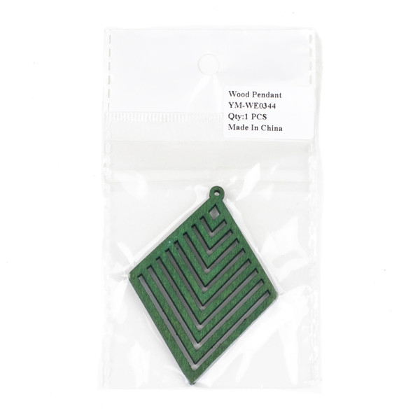 Aspen Wood Laser Cut 52x70mm Green Diamond Geometric Chevron Pendant - 1 per bag