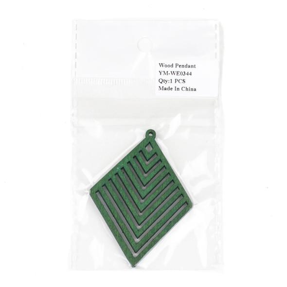 Aspen Wood Laser Cut 52x70mm Green Diamond Geometric Chevron Pendant - 1 per bag