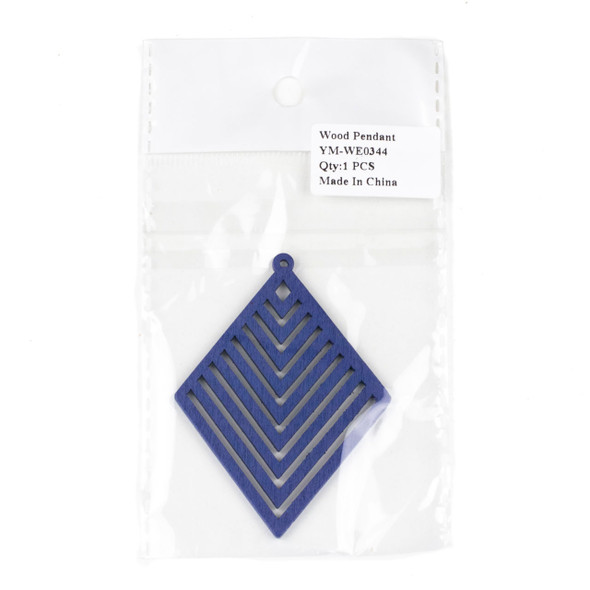 Aspen Wood Laser Cut 52x70mm Blue Diamond Geometric Chevron Pendant - 1 per bag