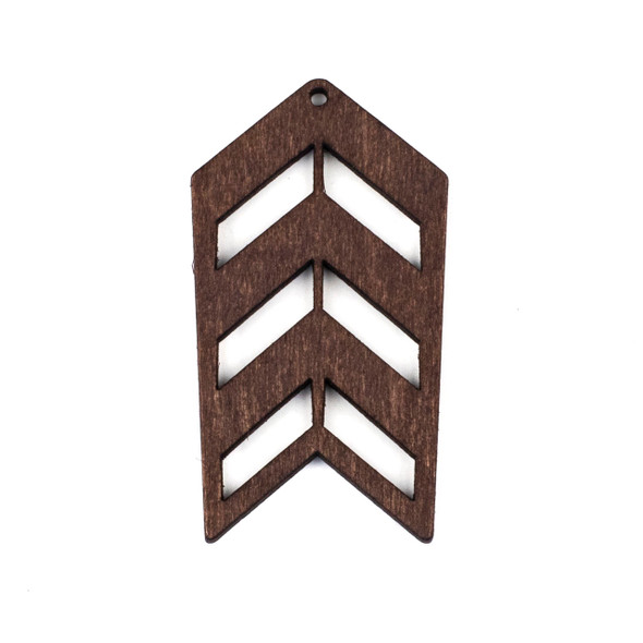 Aspen Wood Laser Cut 32x51mm Dark Brown Geometric Arrow Pendant - 1 per bag