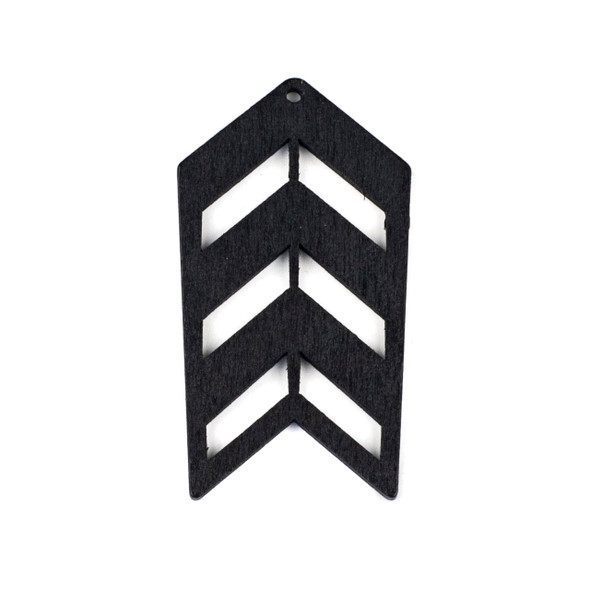 Aspen Wood Laser Cut 32x51mm Black Geometric Arrow Pendant - 1 per bag