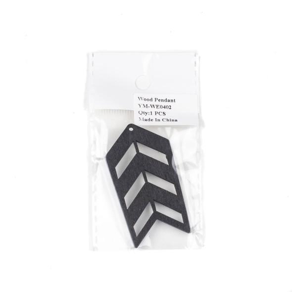 Aspen Wood Laser Cut 32x51mm Black Geometric Arrow Pendant - 1 per bag