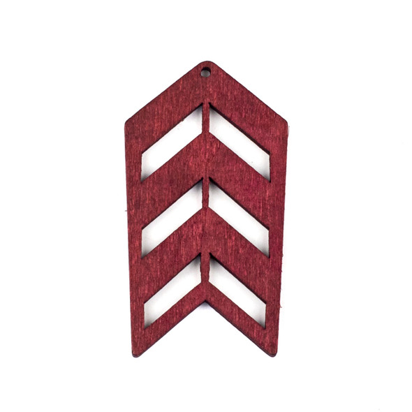 Aspen Wood Laser Cut 32x51mm Red Geometric Arrow Pendant - 1 per bag