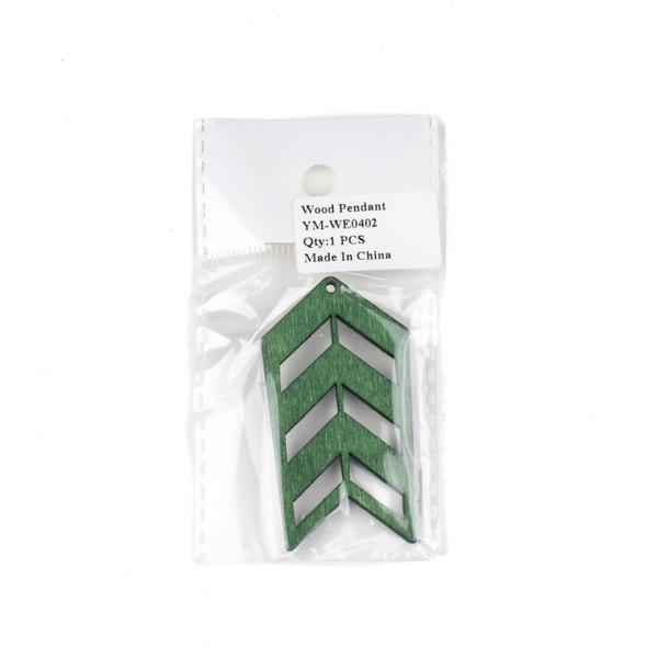 Aspen Wood Laser Cut 32x51mm Green Geometric Arrow Pendant - 1 per bag