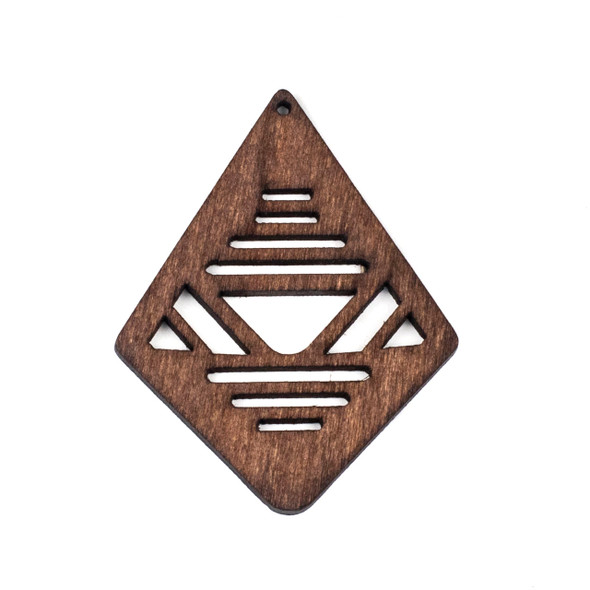 Aspen Wood Laser Cut 48x60mm Dark Brown Geometric Kite Pendant - 1 per bag