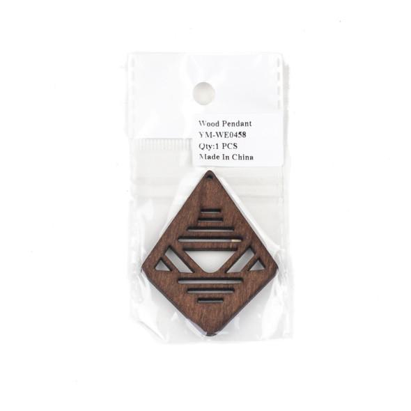 Aspen Wood Laser Cut 48x60mm Dark Brown Geometric Kite Pendant - 1 per bag