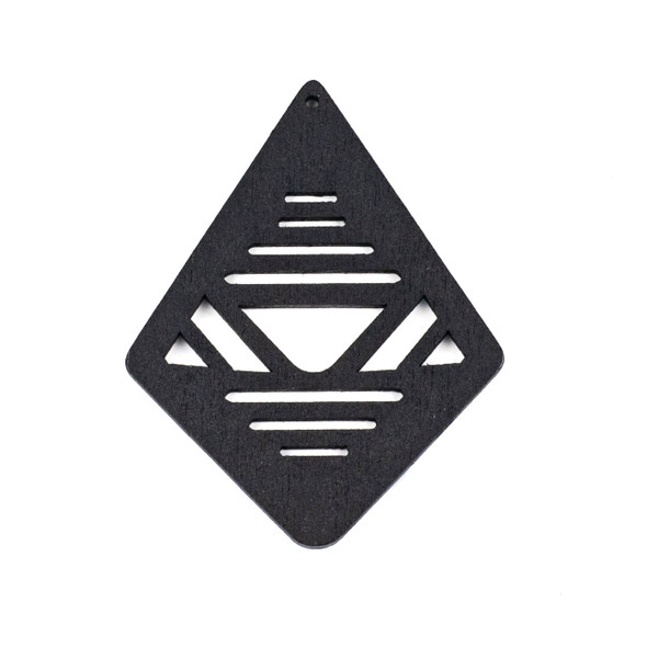 Aspen Wood Laser Cut 48x60mm Black Geometric Kite Pendant - 1 per bag
