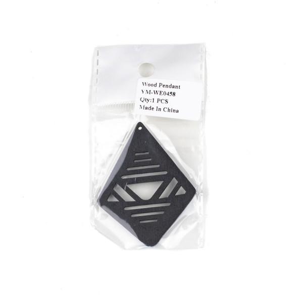 Aspen Wood Laser Cut 48x60mm Black Geometric Kite Pendant - 1 per bag