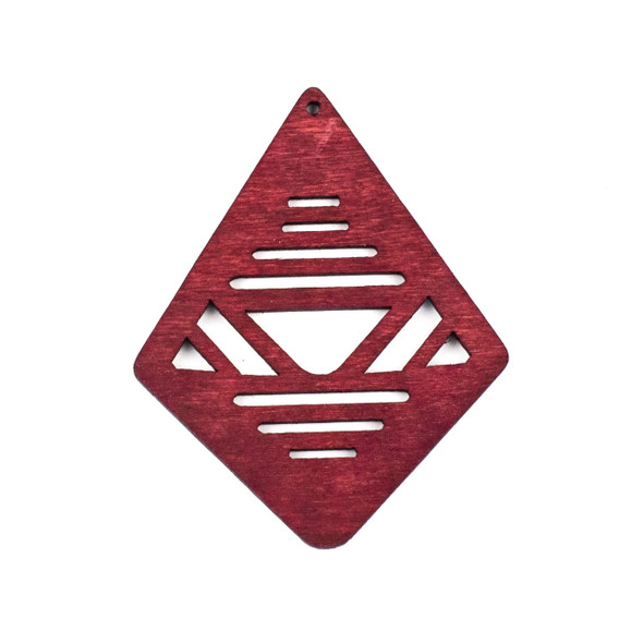 Aspen Wood Laser Cut 48x60mm Red Geometric Kite Pendant - 1 per bag