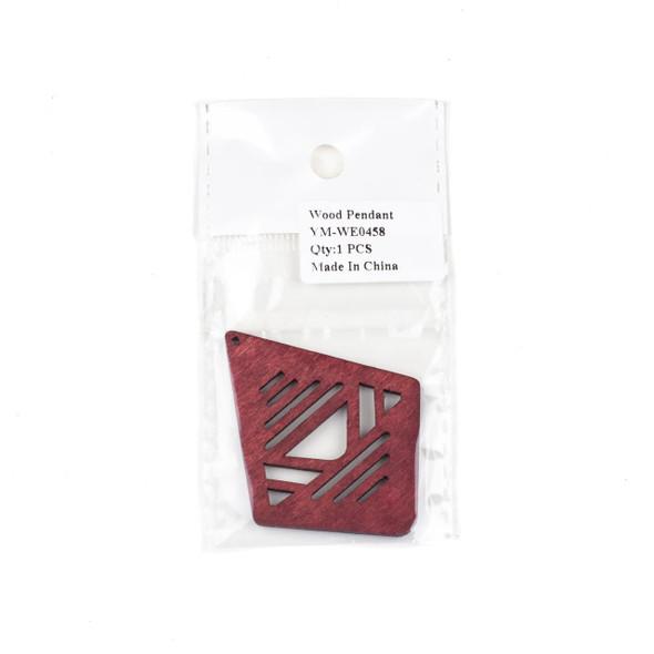 Aspen Wood Laser Cut 48x60mm Red Geometric Kite Pendant - 1 per bag
