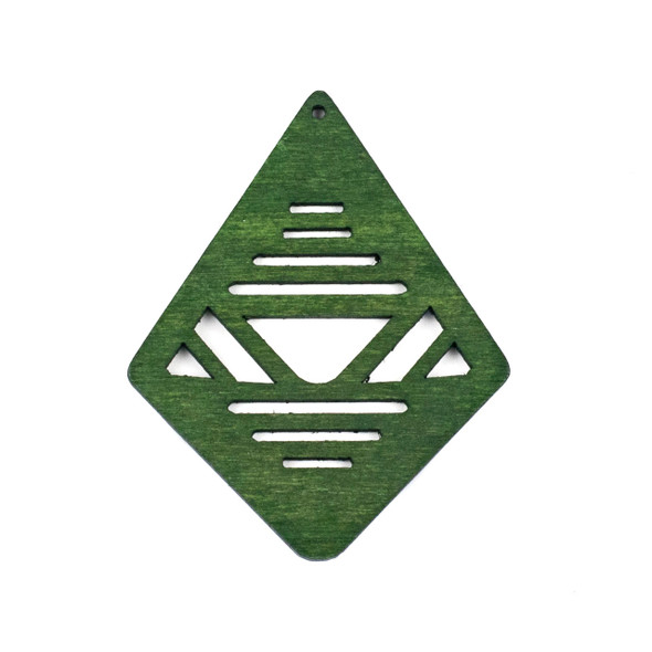 Aspen Wood Laser Cut 48x60mm Green Geometric Kite Pendant - 1 per bag