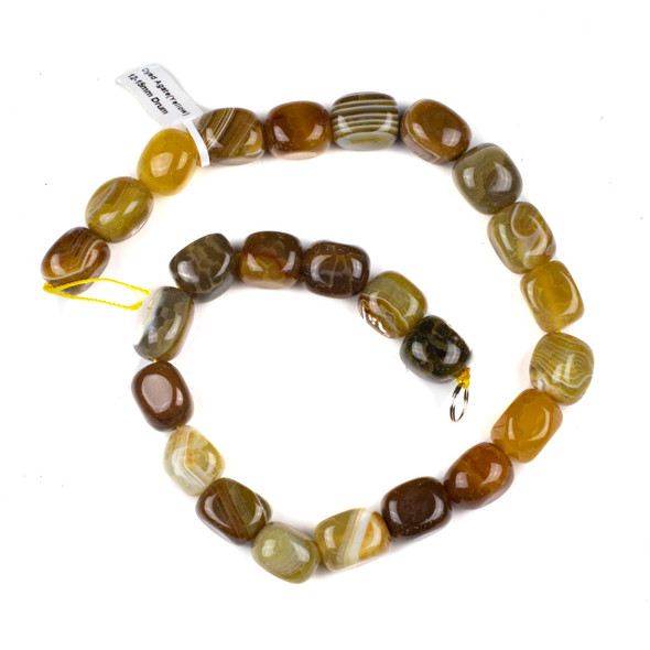 Dyed Agate 12x15mm Yellow and Brown Drum/Nugget Beads - 16 inch knotted strand