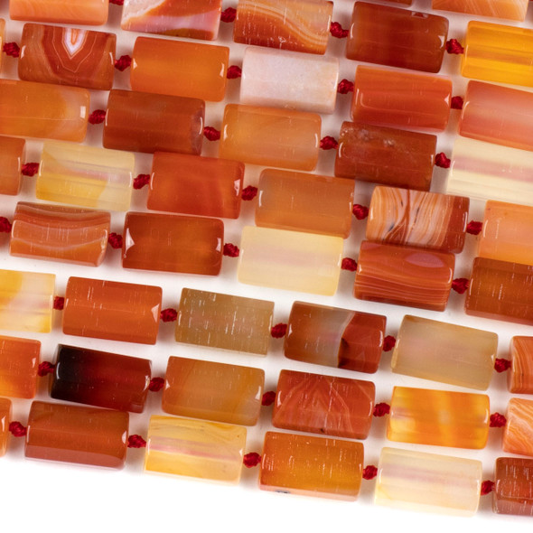 Dyed Agate 10x16mm Orange and White Faceted Tube Beads - 16 inch knotted strand