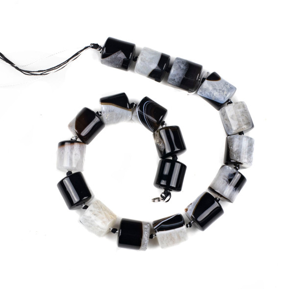 Black and White Agate 18x18mm Tube Beads - 16 inch knotted strand