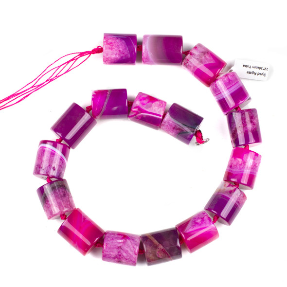Dyed Agate 20x22mm Hot Pink Tube Beads - 17 inch knotted strand