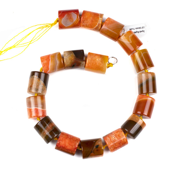 Dyed Agate 20x22mm Orange and Brown Tube Beads - 17 inch knotted strand