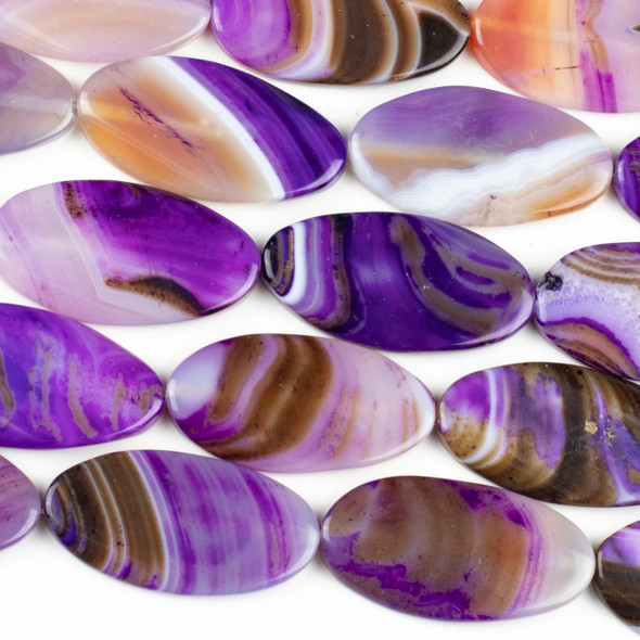 Dyed Agate 25x47mm Purple Oval Beads - 15 inch strand