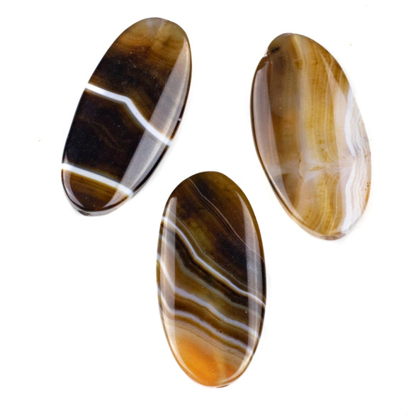 Dyed Agate 25x50mm Brown Oval Pendant - 1 per bag