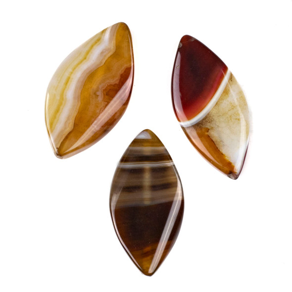 Dyed Agate 25x48mm Brown Marquis Pendant - 1 per bag