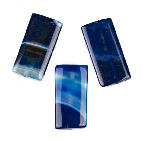 Dyed Agate 20x40mm Blue Rectangle/Pillow Pendant - 1 per bag