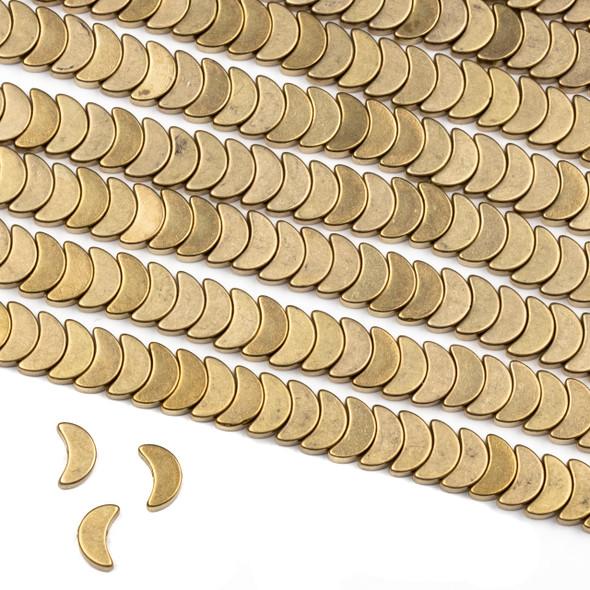Raw Brass 4x8mm Crescent Half Moon Beads - approx. 8 inch strand