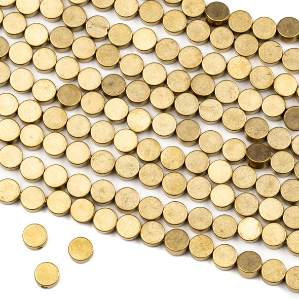 Raw Brass 6mm Full Moon Beads - approx. 8 inch strand