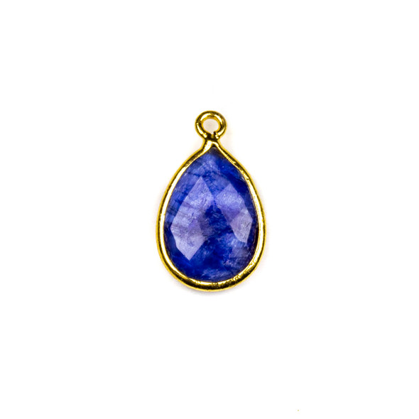 Sapphire approximately 12x18mm Teardrop Drop with a Gold Plated Brass Bezel - 1 per bag