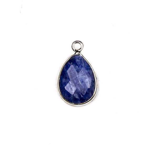 Sapphire approximately 12x18mm Teardrop Drop with a Silver Plated Brass Bezel - 1 per bag