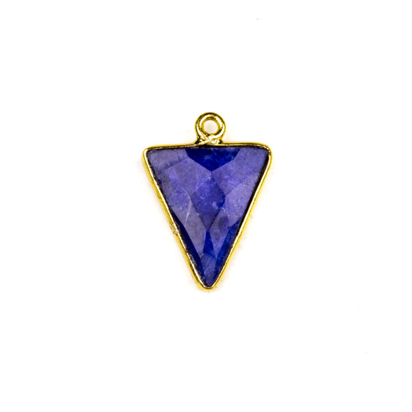 Sapphire approximately 14x20mm Triangle Drop with a Gold Plated Brass Bezel - 1 per bag