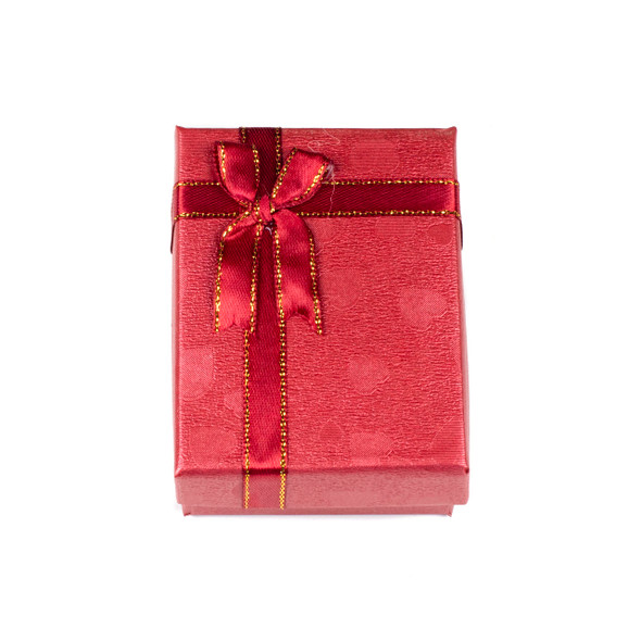 """Jewelry Gift Box - Red with Hearts and Ribbon, 2.5x3.5"""""""