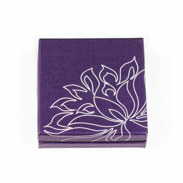 Jewelry Gift Box - Purple with Silver Lotus, 3.3x3.3""