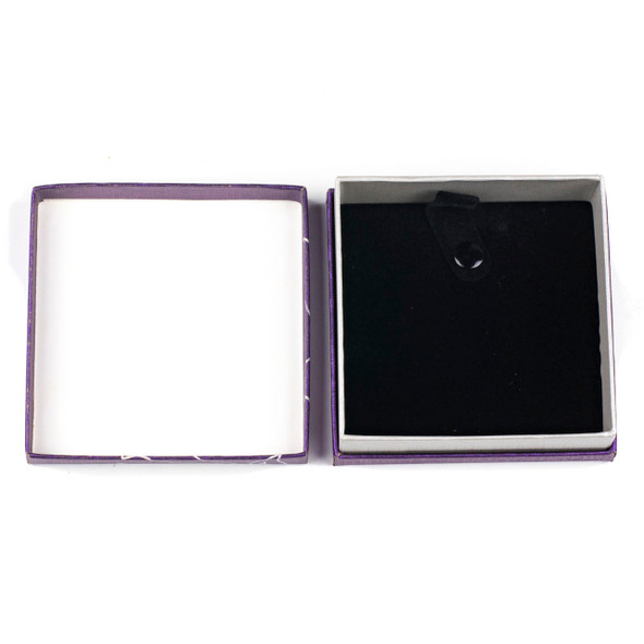 """Jewelry Gift Box - Purple with Silver Lotus, 3.3x3.3"""""""