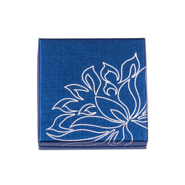 Jewelry Gift Box - Blue with Silver Lotus, 3.3x3.3""