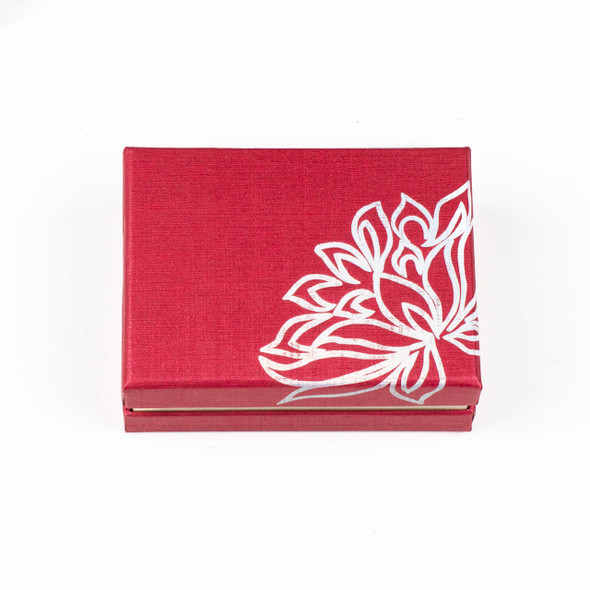 """Jewelry Gift Box - Red with Silver Lotus, 2.5x3.5"""""""