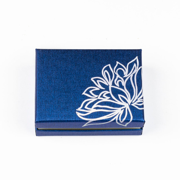 """Jewelry Gift Box - Blue with Silver Lotus, 2.5x3.5"""""""