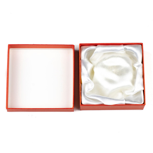 Jewelry Gift Box - Red with Gold Rose, 3.3x3.3""