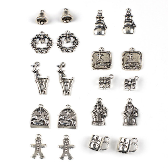 Mix of 20 Christmas Themed Pewter Charms